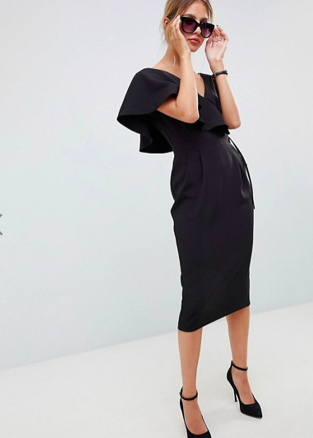 Um, WOW! This ASOS Ruffle Wrap Midi Dress is way too chic.
