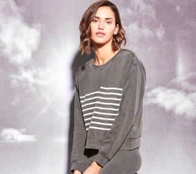 This  Sundry sweatshirt  is great to pop on before your workout... but also looks great on a casual day with jeans and riding boots! This brand is the epitome of west coast cool and a dash of French chic.