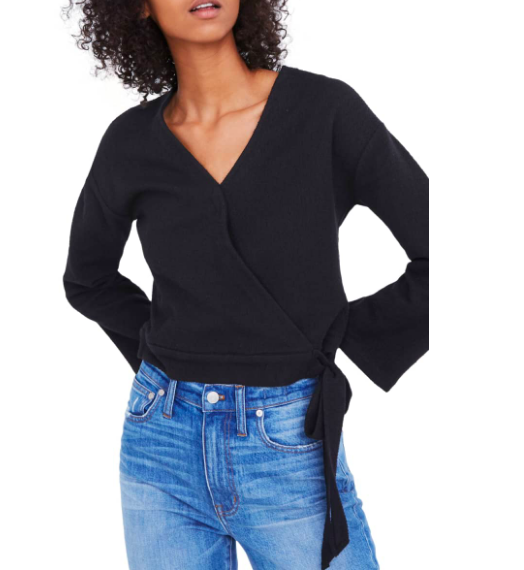This  Madewell Wrap Blouse  is SO flattering. It comes in and tucks you in at your tiniest point. It can so easily be worn with jeans and a Tee.