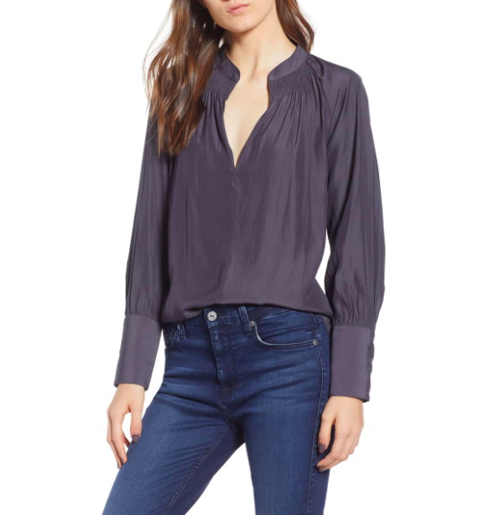 This  Chelsea 28 Smock Top  has the perfect chic, relaxed cut to match nearly anything and has a great fabric drape (which makes it flattering to tuck in to highlight your waistline!).