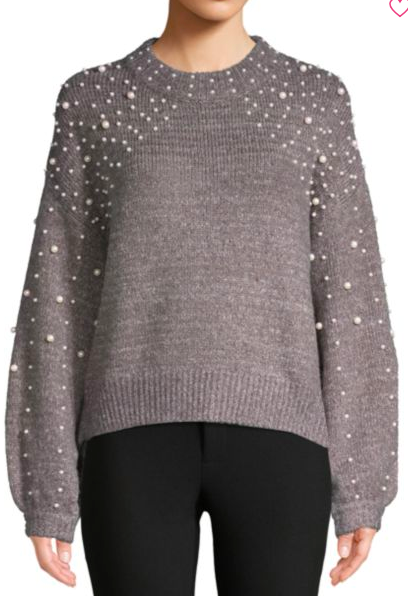 Cliche: Mockneck Embellished Sweater  Perfect with jeans and riding boots. OR, try a front tuck into a classic pencil skirt with leopard flats!