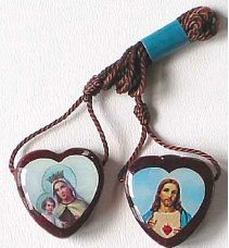 This wood & wool scapular is sold at  The Catholic Company !