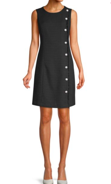 Karl Lagerfeld Paris: Twill Pearl Shift Dress  Isn't a pearl detail always perfect?! I love that it gives this timeless cut that special little 'something' to set it apart.