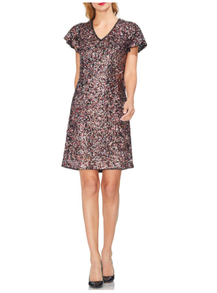 Vince Camuto: Flutter Sleeve Sequin Dress  Bring on the party!! This is sure to dazzle with a nude heel or wear it more caually with a denim jacket, tights, and booties! Woo!