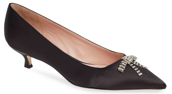 Kate Spade NY: Derby Pump  This crystal bow is the perfect feminine detail. It can take a casual LBD to a date night!