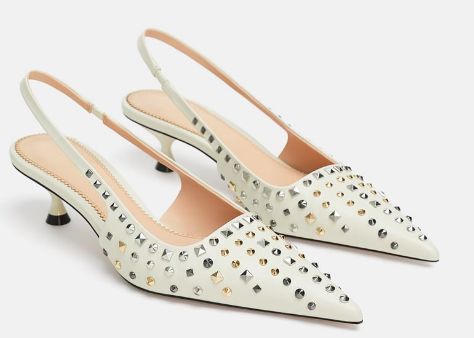 Zara: Studded Slingbacks  Add a little spunk with a statement shoe! Just remember to keep the other components of your outfit super simple, so as not to look overdone.
