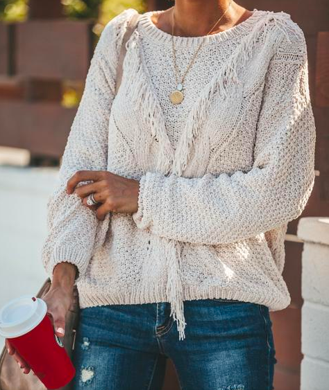 Vici: Winipeg Fringe Sweater   Take your cream, winter sweaters up a notch by adding fringe! This is a great way to bring more dimension with your Look. When using fringe as your texture, I advise to make sure the silhouette of the piece is fairly classic, so as to not overwhelm your Look.