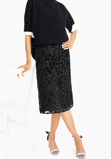 J Crew: Burnout Velvet Skirt   Velvet is a huge trend this season- it adds such a luxe feel to your Look! And the burnout adds even more intrigue and dimension. You can wear this with a nice blouse or with a simple grey Tee and denim jacket.