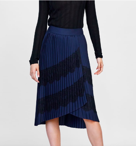 Zara: Pleated Skirt  Stunning, right?! For a trendy-casual look, you could pair this with a slouchy sweater and ankle booties. To dress it up for the evening, pair it with a black silk blouse in heels. Amazing how something can go from casual day to night by just swapping a few things!