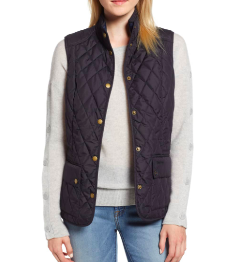 Barbour: Quilted Vest  Quilted vests never go out of style! They're also super easy to guestimate that it will fit someone. I wear vests allllll the time. Over dresses, with jeans, even just around the house! They so easily slip over almost anything and instantly add a bit more classic style and prep.
