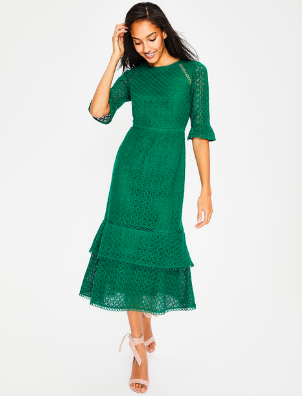 Boden Lace Midi  An emerald lace is PERfect to greet the new Spring weather!