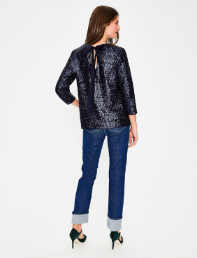 Emmy Sequin Top  This sequin top isn't just made for New Year's Eve parties - pair it with a casual jean and flats for a summer BBQ party or a bridal shower! Simply contrast the sequins/shine with more casual pieces!