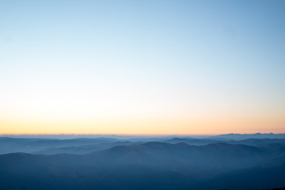 Looking east from the summit of North Trapper just before sunrise.