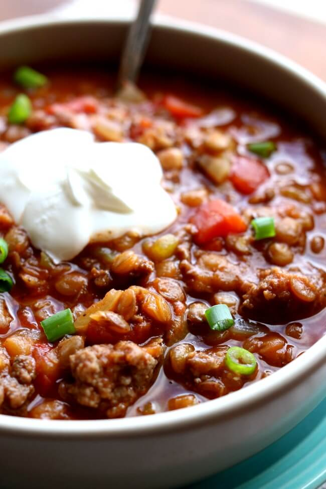 INSTANT POT GROUND TURKEY LENTIL CHILI