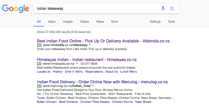 GOOGLE ADWORDS RESULTS FOR: INDIAN TAKEAWAY