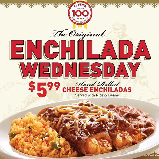 Our Love for Enchilada Wednesday has been around since the 1950's!  Bring your Valentine in and enjoy our cheese enchilada plate for just $5.99! #Since1918 #ElFenix
