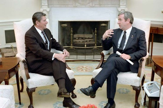 President Reagan and Jerry Falwell in the Oval Office.