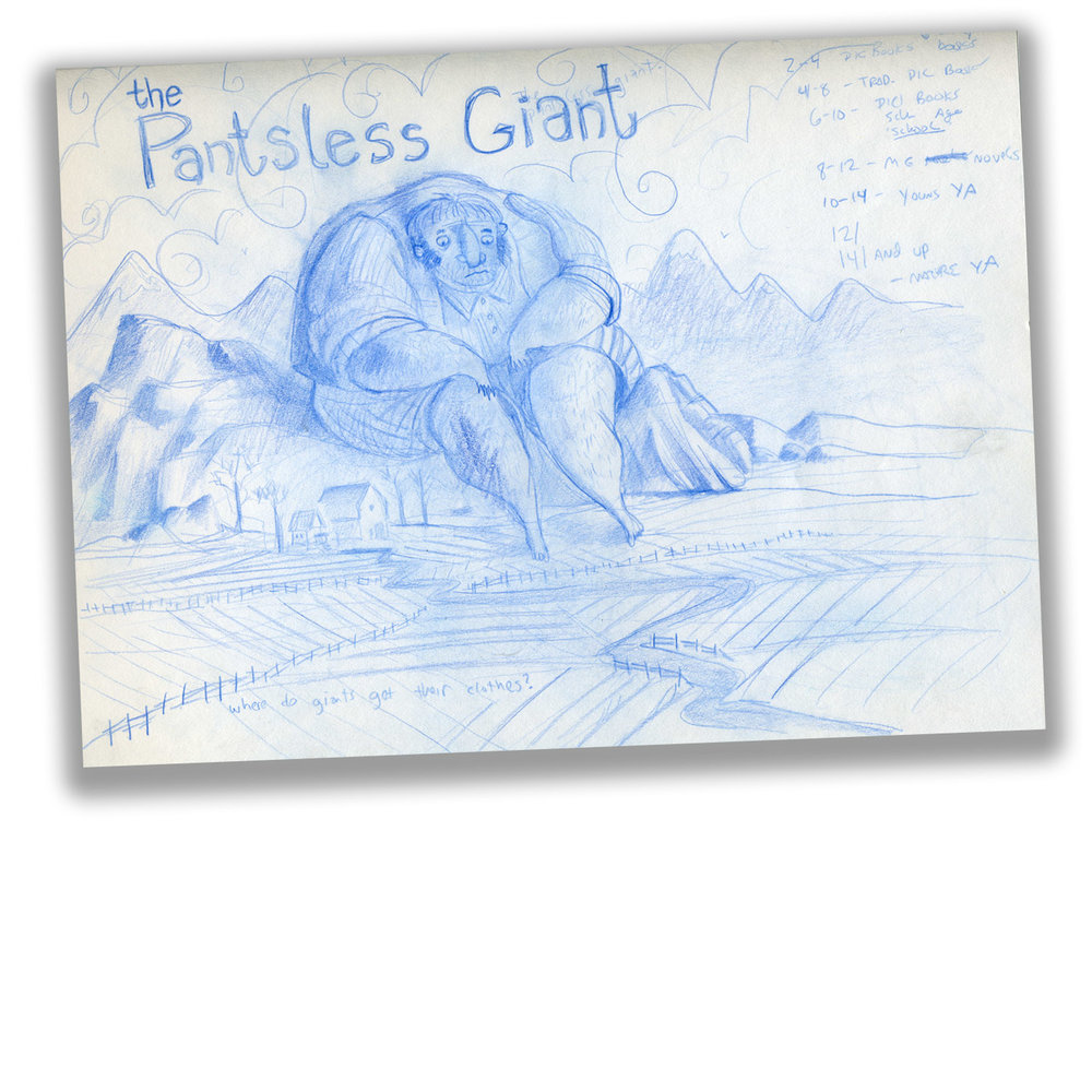There it is - THE sketch that inspired the book. This is from a sketchbook filled with doodles. BTW this drawing was done while at an SCBWI conference sitting in the audience.