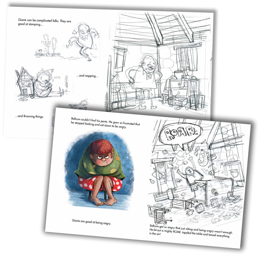 These are screen captures from the PDF book dummy for Giant Pants. As you can see the art is very rough, except for one example of how I thought I'd like to paint it. Notice that the painting style and character design change in the final book..