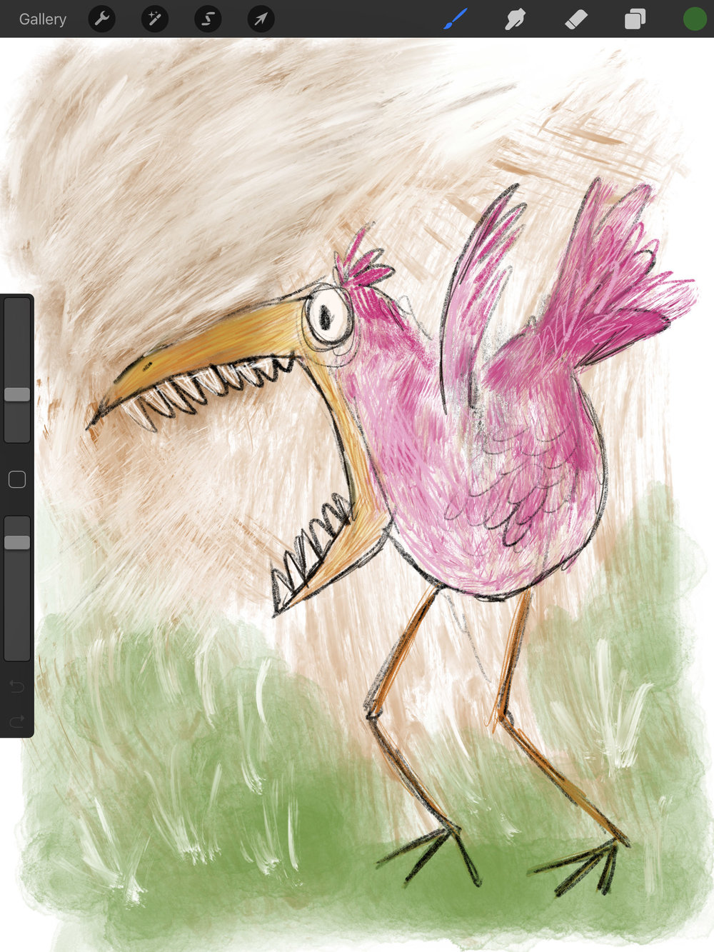 Awesome natural media drawing and painting tools that work great with the Apple Pencil. Even when drawing 'attack birds'.