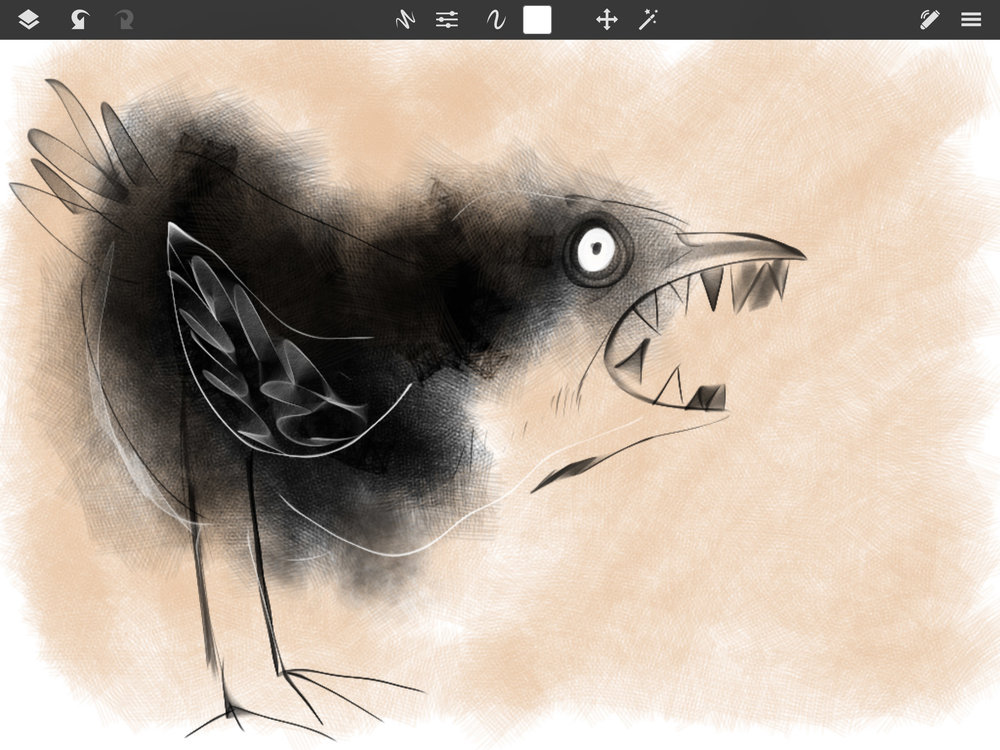 SketchClub is a lot of fun to draw in. I'm continuing my attack birds' theme.