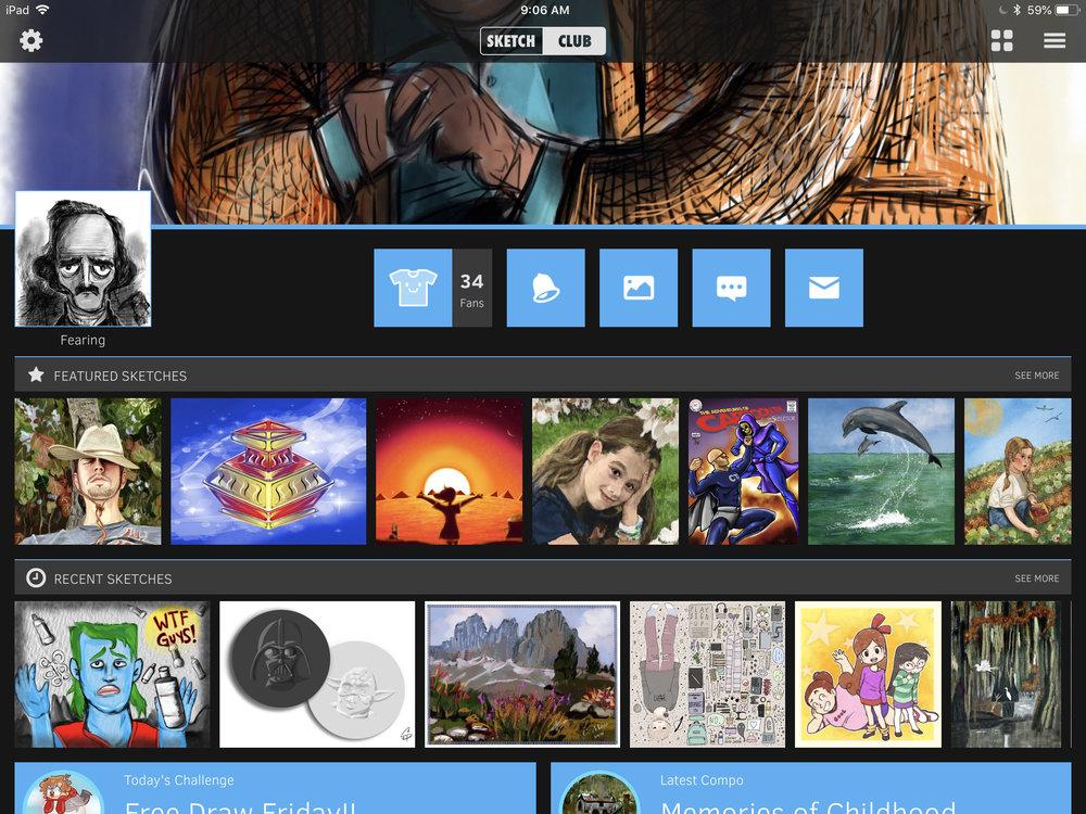 The SketchClub CLUB homepage.