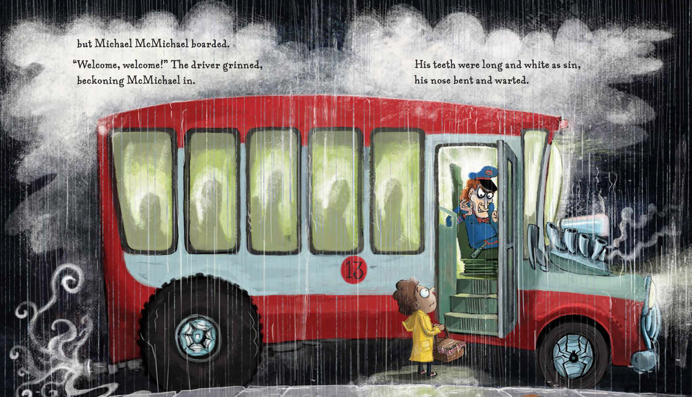 This is a double page spread from the book. Michael McMichael DOES get on the bus.
