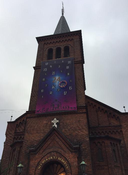 Amazing Advent Calendar on a church in  Copenhagen