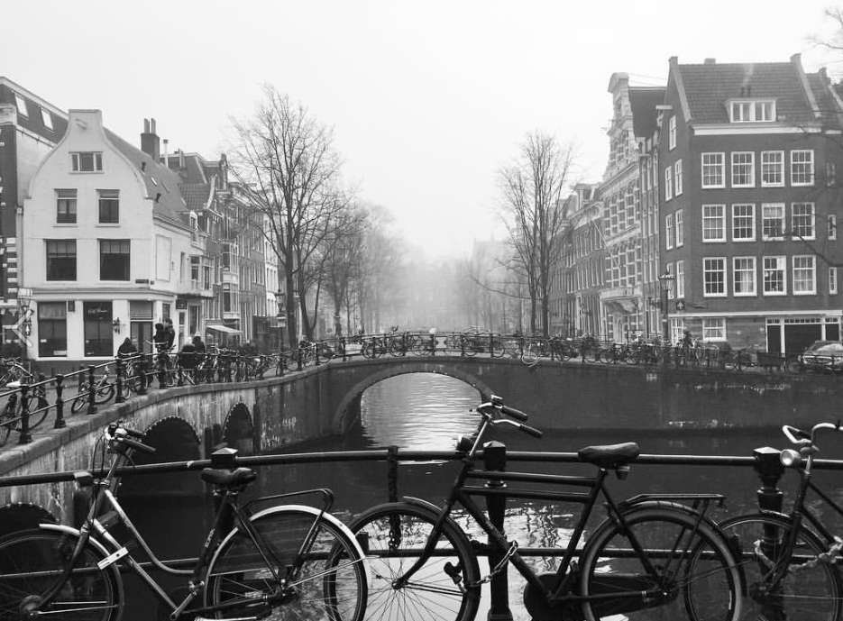 Amsterdam on a foggy morning