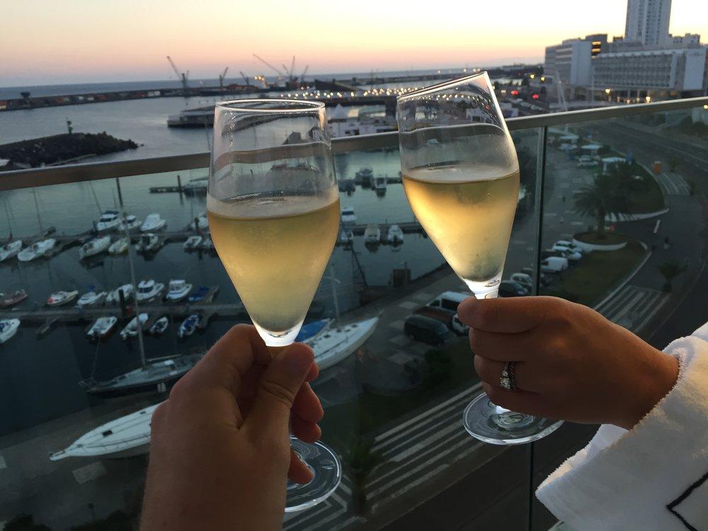 A Champagne toast in Ponta Delgada