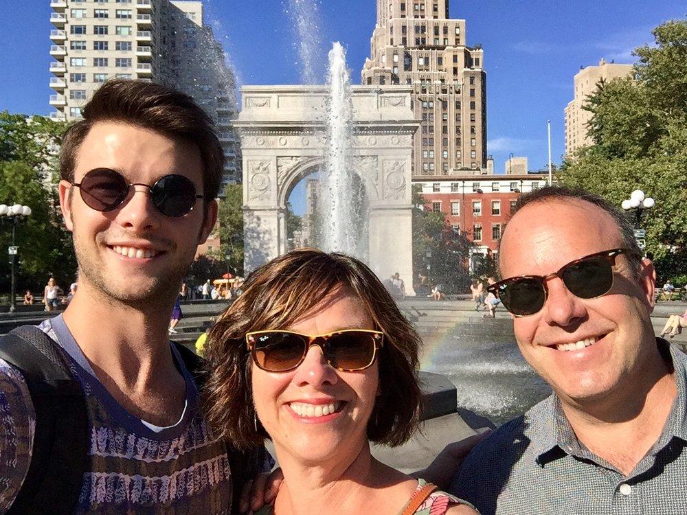 David, Betsy, and Greg at Washington Square Park in NYC.