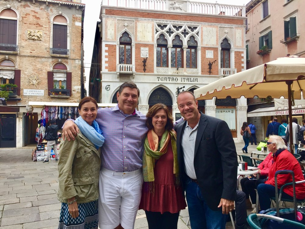 Meeting friends in Venice, Italy at the beginning of a ETC Custom Itinerary trip.
