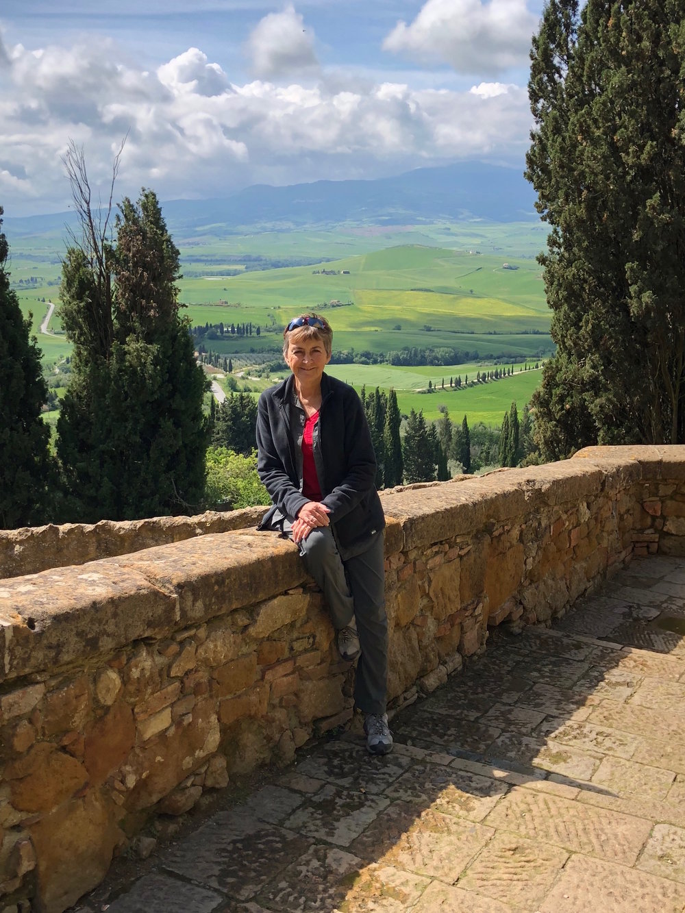 Enjoying the views of Cyprus trees from Pienza during our small group tour of Tuscany