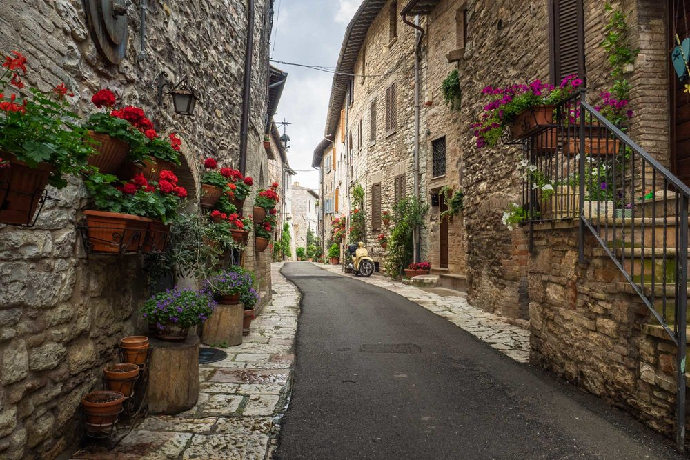 A picturesque street in Assisi