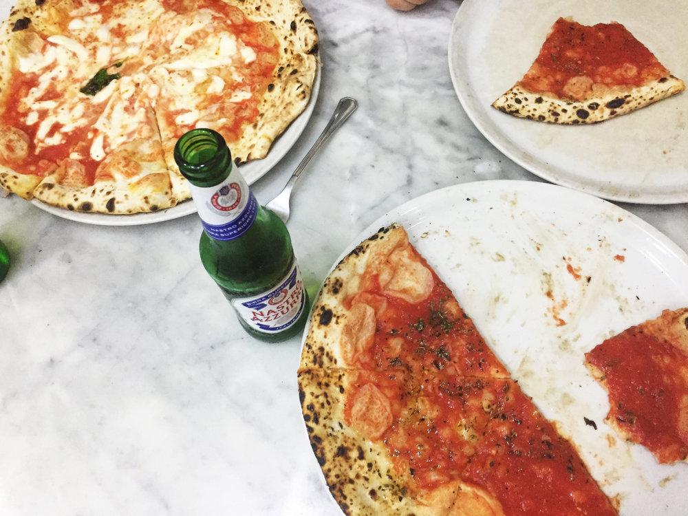 Margherita and Marinara pizzas at Di Michele