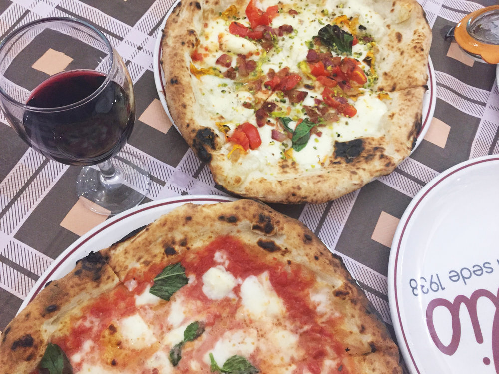 Fiore and Margherita pizzas at Di Attilio