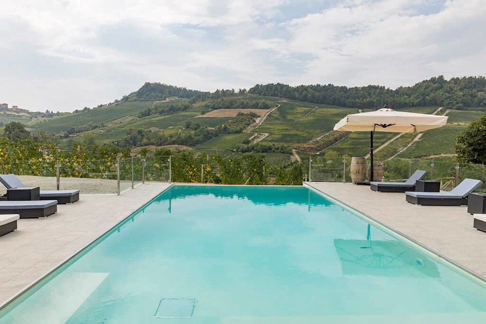 The pool overlooking the Barolo vineyards.