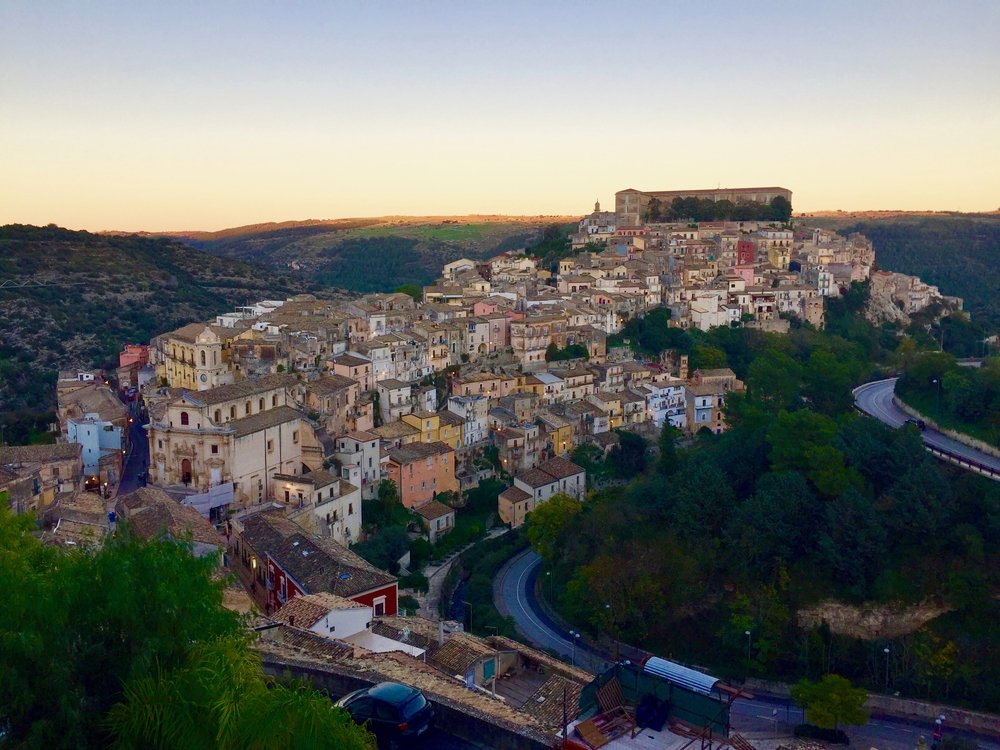 Ragusa, Sicily near sunset.