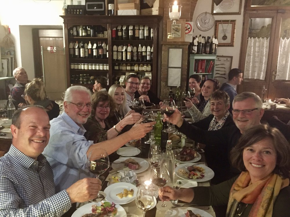 A great wine dinner in Monticchiello on a small group tour of Tuscany