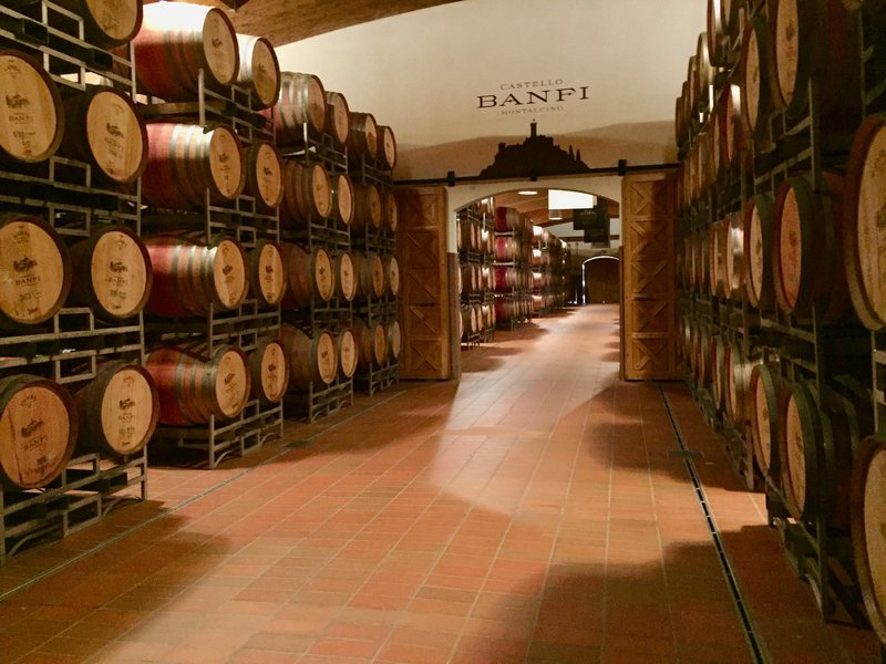 The barrel room at Castello Banfi