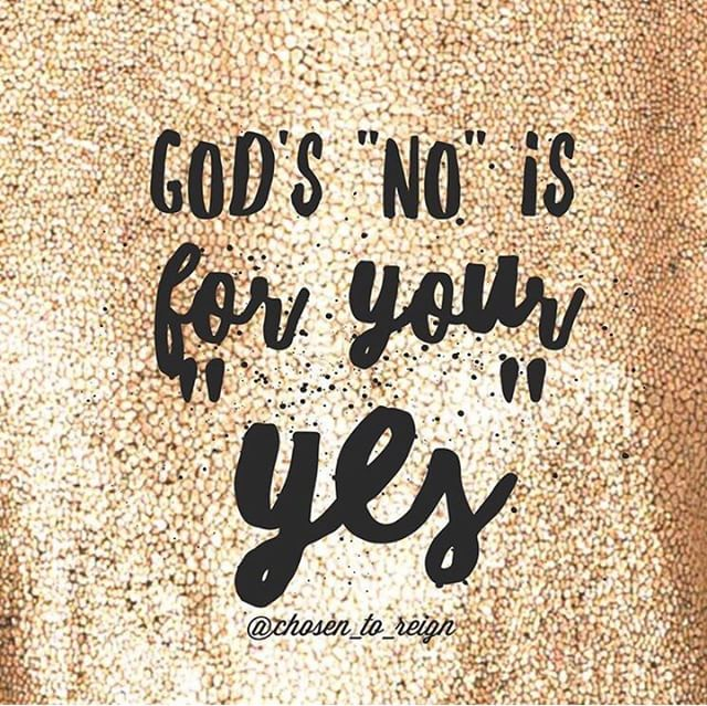 "God's ""no"" is for your ""yes.""⠀⠀⠀⠀⠀⠀⠀⠀⠀ What He has set you free for is your ""yes.""⠀⠀⠀⠀⠀⠀⠀⠀⠀ ""Yes"" to what you were put on the planet for before the foundation of the world.⠀⠀⠀⠀⠀⠀⠀⠀⠀ ""Yes"" to your calling.⠀⠀⠀⠀⠀⠀⠀⠀⠀ ""Yes"" to your very purpose for living.⠀⠀⠀⠀⠀⠀⠀⠀⠀ ""Yes"" to you having a satisfied soul.⠀⠀⠀⠀⠀⠀⠀⠀⠀ ""Yes"" to your dignity and honor.⠀⠀⠀⠀⠀⠀⠀⠀⠀ God's will is for your good. He is not trying to with hold something from you.⠀⠀⠀⠀⠀⠀⠀⠀⠀ Anything that Christ says no to is because it is not worthy of you. He sees this all from beginning to end, He knows the good plans He has prepared for your royal destiny. #chosentoreign #forsuchatimeasthis"