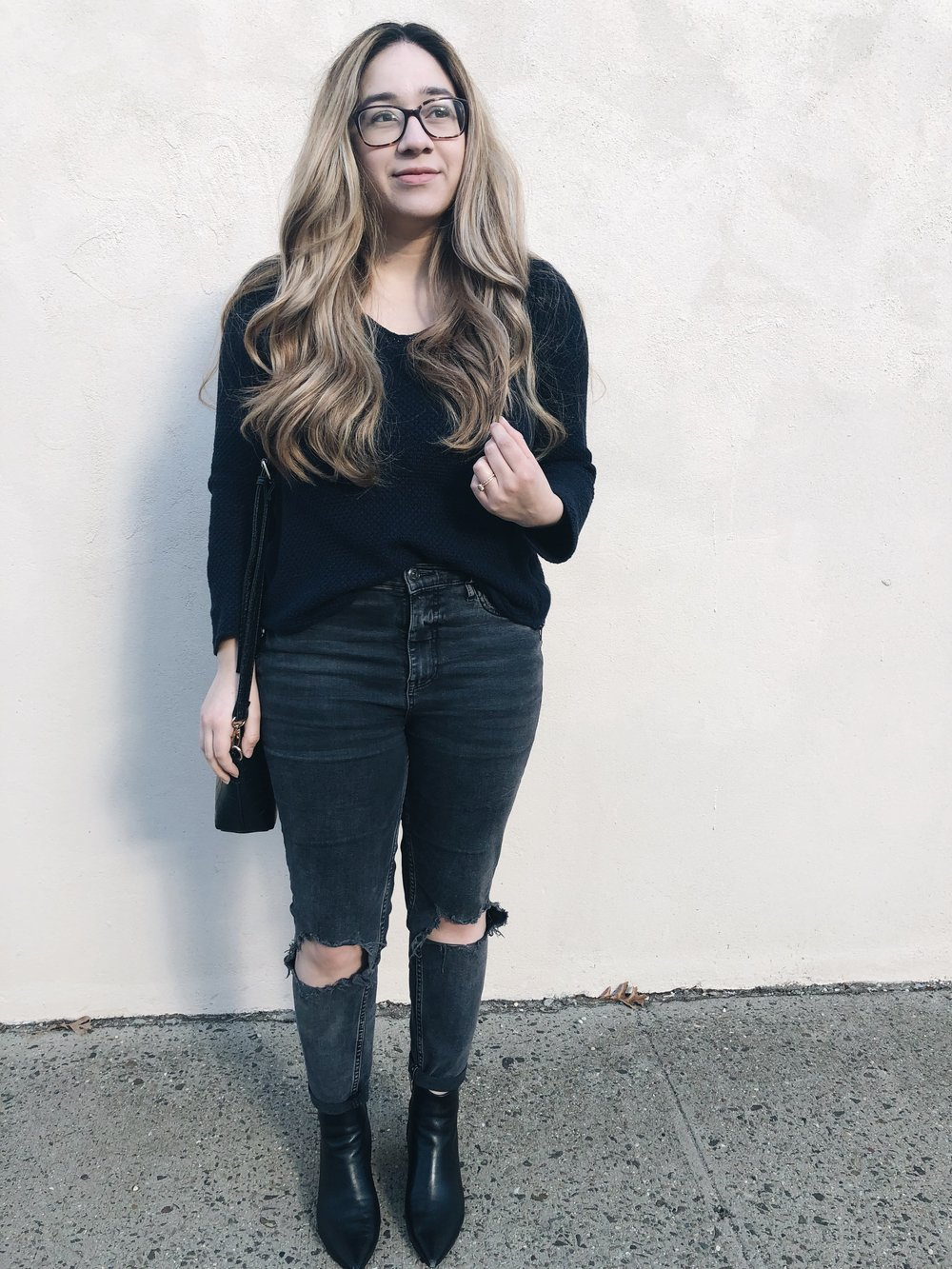 Top: Banana Republic (Thrifted)  Jeans: Free People  Boots: Marc Fisher (DSW)