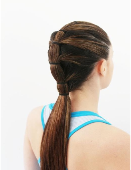 We begin with a   Tiered Ponytail:   The tiers keep the style tight without wayward wisps. The two bottom tiers can be removed after the gym for an instant polished look.