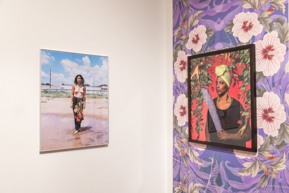 Star Montana,   Krystal , 2017 inkjet print (on left)  Tiffany Smith,   Haitian Woman from Miami with Machete,  2017, archival inkjet print, original wallpaper (on right)