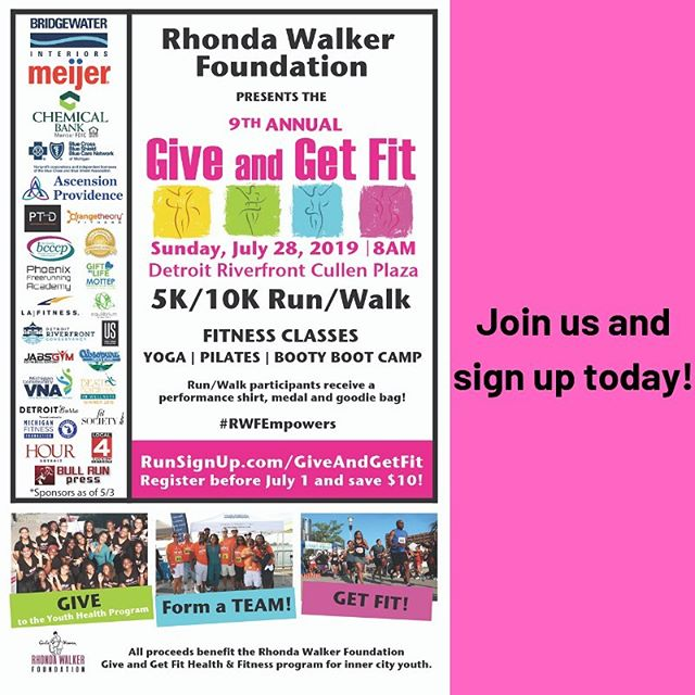 Join JRTC and the @rhondawalkerfoundation at the 9th annual Give and Get Fit Event - a fun filled morning of health and fitness! Register by June 30 and save $10! #rwfempowers #GiveandGetFit