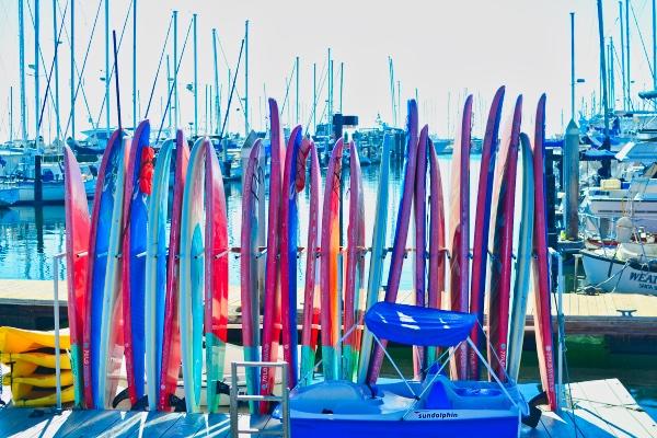 Paddle Boards in Santa Barbara Harbor