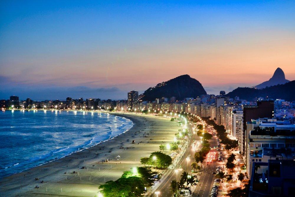 Copacabana Beach in Rio at sunset