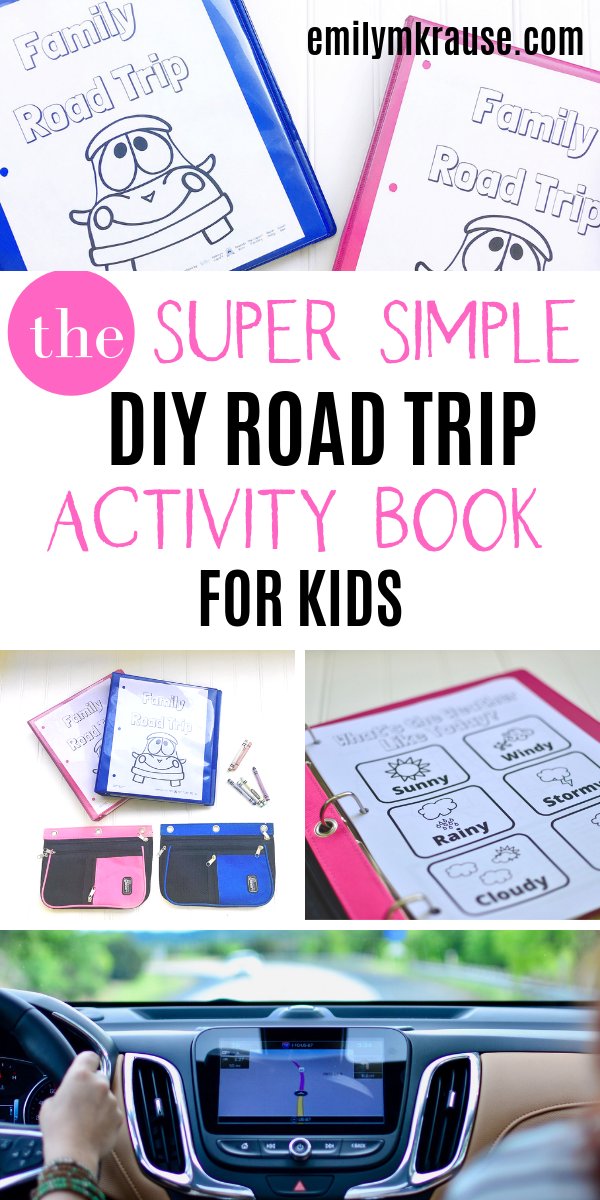 Looking for an easy car trip activity for kids? Try this DIY road trip activity book! You can make your own preschooler travel binder or download my road trip pdf for a cheap road trip activity to keep kids busy and away from screens!