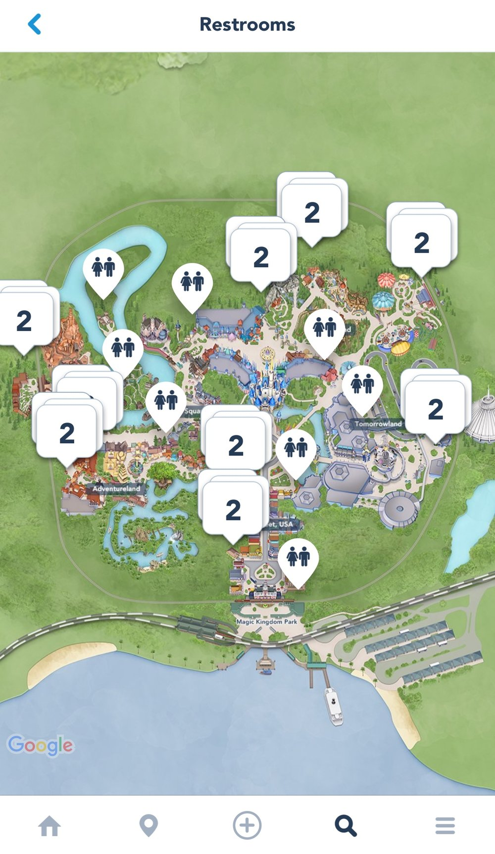 Screenshot of all the restroom options at Magic Kingdom from the My Disney Experience app