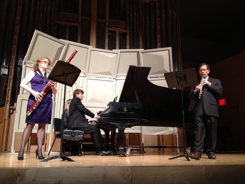 Performing with Stephen Caplan, oboe, and Timothy Hoft, piano